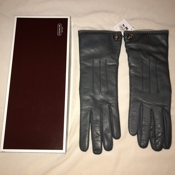 Coach Cashmere Lined Leather Gloves